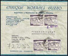 2677 CHILE REGISTERED COVER 1957 MAPS VALPARAISO - SANTIAGO