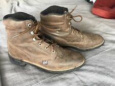 WOMENS JUSTIN WORK LEATHER BROWN BOOTS SIZE 9 B