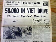1971 Vietnam War headline newspaper Us Invades Laos to cut off Ho Chi Minh Trail