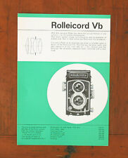 ROLLEI ROLLEICORD VB SALES SHEET/104505