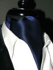 New Modern Day Silk Ascot Cravat Tie Dark Navy Blue Extra Long