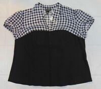 Lane Bryant New Black + White Corset Top V-neck Short Sleeve Size 26 Semi Sheer