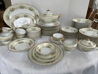 86pc VINTAGE Meito China MARJORIE Floral Pattern w/Gold Svc for 12 Japan VGUC