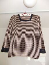 Viyella Top With Buttons 3/4 Sleeve Square Neck Size 14 16 Blue & Brown Stripe