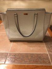 Kate Spade Dove Grey Leather, Ostrich Stamped Shoulder Bag - EXCELLENT CONDITION