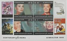 Centenary of cinema Gibraltar stamp sheet, famous stars 1995, SG ref: MS756, MNH