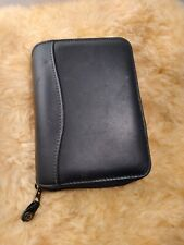 Franklin Covey Spacemaker Black Leather Classic 7 Ring Zipper Plannerbinder
