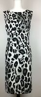 Ann Taylor Women's Sleeveless Leopard Sheath Dress - Black White Gray Size 14