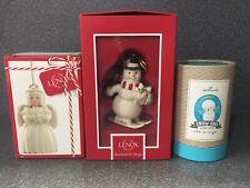 3 New Christmas Ornaments Lenox Holiday Cheer Angel Snowman Hallmark Snow Angel