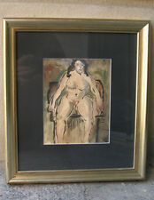 Hjalmer Nielsen (1892) Seated female nude. Dated 1914. Early expressionism.