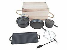 El Fuego Dutch Oven Set 7-teilig, Vielseitiges Set Pfannen Töpfe Grill schwarz