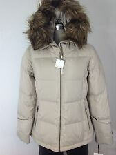 Calvin Klein NWT Champagne Down Jacket Hood Removable Faux Fur size XS, S, M, L