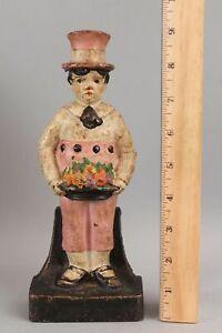 Antique c1920 Cast Iron Doorstop Figural Boy Fruit Bowl CJO Judd Manufacturing