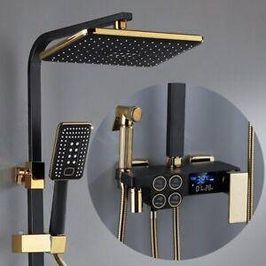 Luxury Bathroom Hot Cool Shower Set Black Gold Mixer Normal & Digital System