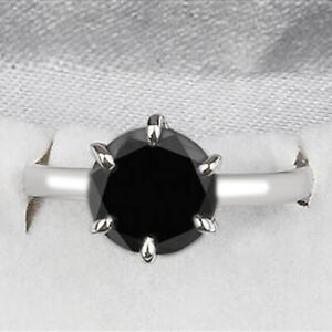 925 Sterling Silver & 4.70Ct Round Cut 100% Natural Black Diamond Women's Ring