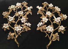 Vintage Pair of Burwood Floral Dogwood Wall Art Plaques Hollywood Regency