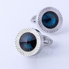 Luxury Men Sea Blue Crystal Cufflinks High Quality Lawyer Groom Wedding Cufflink