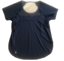 LULULEMON Anew Top Tee Short Sleeve Black size 6 Open Back Side Slits EUC Yoga