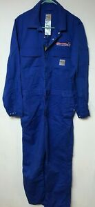 MENS USED CARHARTT BLUE FR LIGHTWEIGHT WORK FIRE RESISTANT COVERALLS SIZE 38