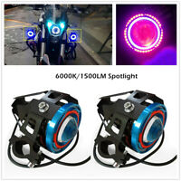 Motorcycle Headlight LED Fog Spotlight Multi Color Halo Projector 1500lm/6000k