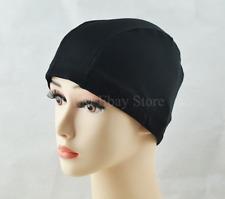 Lady Elastic Fabric Shower Bathing Swim Bath Hair Cover Cap Hat Towel Black