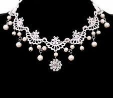 VINTAGE STYLE WHITE LACE CHOKER COLLAR CRYSTAL PEARL NECKLACE