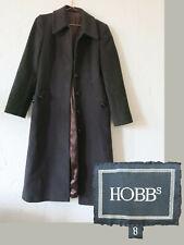 Hobbs Coat Brown UK 8 Long Wool Cashmere Blend Autumn Winter Button Down