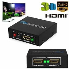 1x2 1080p Hd 3d 2 Way Hdmi Splitter Conmutador Amplificador Hub Caja Para Tv Ps Xbox Pc