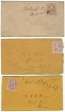 US 1860s THREE COVER W/MANUSCRIPT PEN CANCELS CENTRAL SIDNEY ME KITTRELL MASS UN