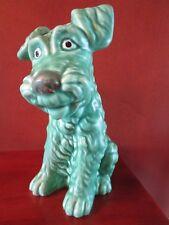 VINTAGE DARK GREEN SYLVAC TERRIER DOG FIGURINE #1379   ENGLAND