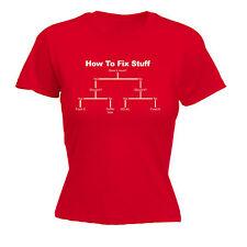How to Fix Stuff WOMENS T-SHIRT Tee Diy Engineer Builder Funny birthday gift