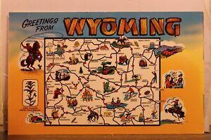 Wyoming WY Map Greetings Postcard Old Vintage Card View Standard Souvenir Postal