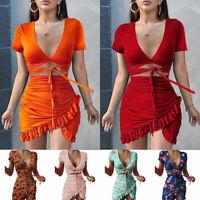 Womens Summer Ruffle V-neck Mini Party Bodycon Dress Lady Holiday Beach Sundress
