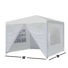 "Heavy Duty Canopy Party 10""x10"" Outdoor Wedding Tent Gazebo with 4 Side Walls"