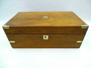 Vintage Large Wooden Box Lift Top Lid Brass Fittings No Key