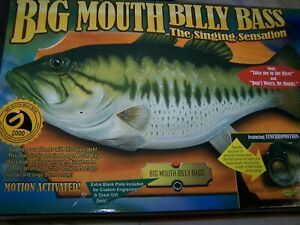 Vintage Big Mouth Billy Bass in Original Box 1998 Gemmy Sings Novelty Fish
