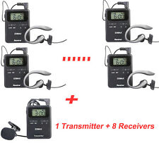 200M Pro UHF 815-823MHZ Wireless Tour Guide /Monitoring System For Church 1T8R