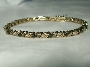 ..Gold Sterling Silver,Diamond Accents,Blue Sapphire Marquise Gemstones Bracelet