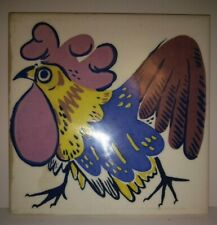 """Vintage Ceramic Tile Colorful Rooster 5 7/8"""" sq. felt backed- looks hand painted"""