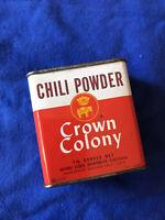 Vintage Crown Colony (SAFEWAY) CHILI POWDER 1 1/2 Oz spice tin | Chili recipe