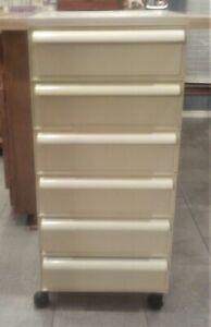 Vtg KARTELL 6 Drawer Storage BEIGE-Off WHITE Stacking Drawers Plastic W/Wheels