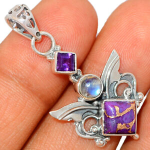 Sacred Angel Wings - Copper Purple Turquoise 925 Silver Pendant BP40210