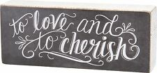 "TO LOVE & TO CHERISH Wedding Wooden Box Sign 7.5"" x 3"", Primitives by Kathy"