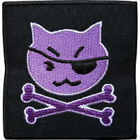Pirate Cat Skull Bones Embroidered Iron / Sew On Patch Clothes Badge Transfer
