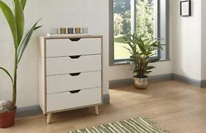 Chest of 4 Drawers Oak Veneer Bedroom Furniture Solid Wood Legs Seconds