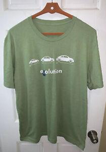 Volkswagen Beetle Evolution Men XL Tee Shirt Green Short Sleeve 1938 1997 2012