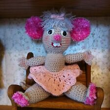 """New listing Hand crocheted Stuffed Toy Mouse, Babette, 10"""" tall, new"""