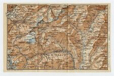 1930 ORIGINAL VINTAGE MAP OF VICINITY OF CRODO ITALY / BRIG SWITZERLAND