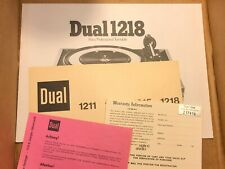 Dual 1218 Owner's Manual & Paperwork Original Paper Great Condition