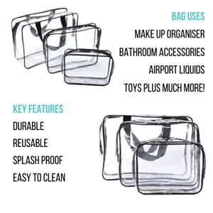 SML Clear Toiletry Cosmetic Transparent Set PVC Bags Travel Makeup Bag Pouch UK